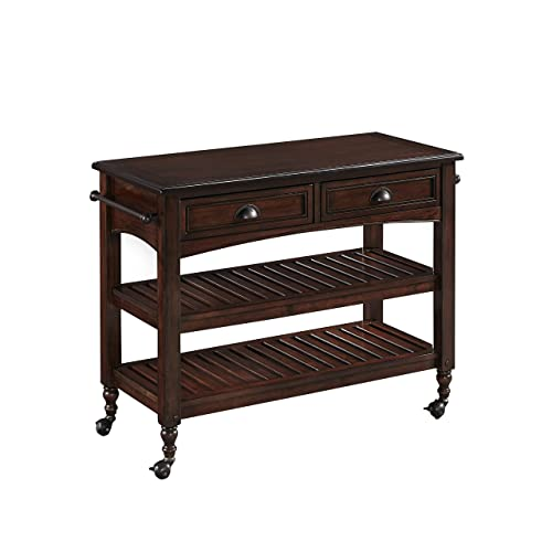 Home Styles Country Comfort Aged Bourbon Kitchen Cart with Wood Top, Two Drawers with Cup Pull Antiqued Brass Hardware, Two Fished Shelves, Four Casters, and Rubber Wood Solids and Veneer