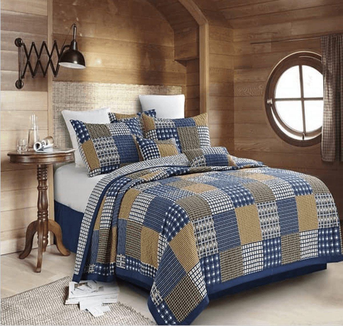 """Blocks Blue"" Patchwork Quilt Set Twin Duke Imports 485"