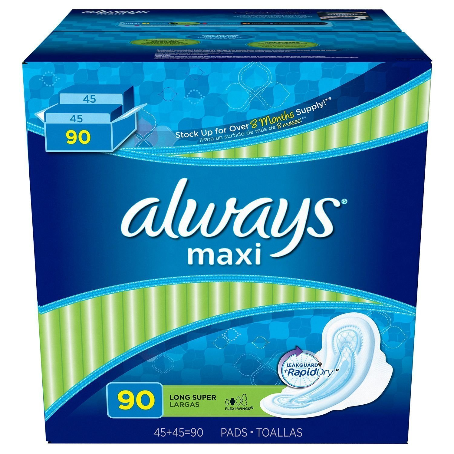 Amazon.com: Always Maxi Long Super Pads with Wings (90 ct.): Health & Personal Care