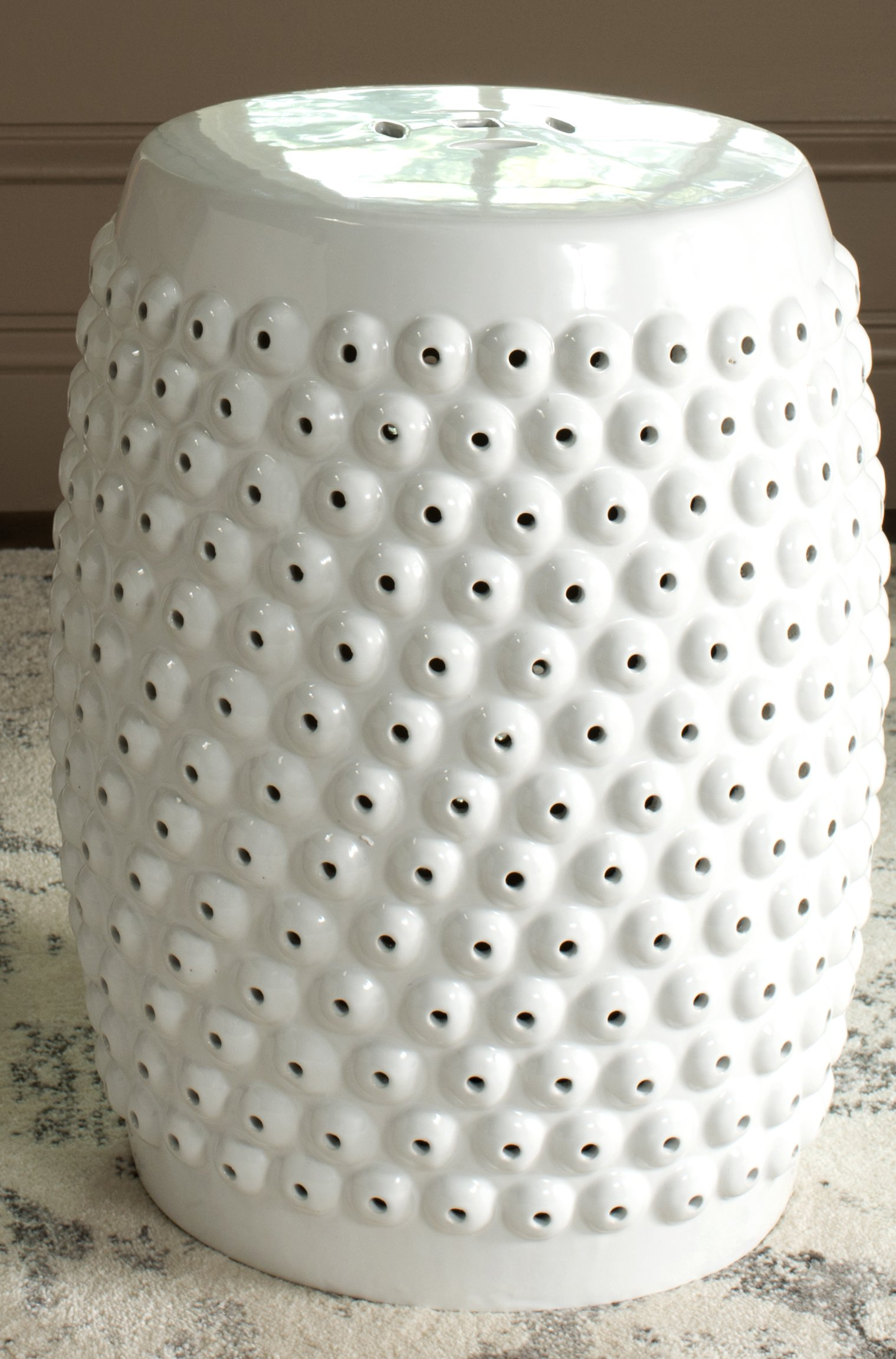 Safavieh Castle Gardens Collection Stella Nail Head White Glazed Ceramic Garden Stool
