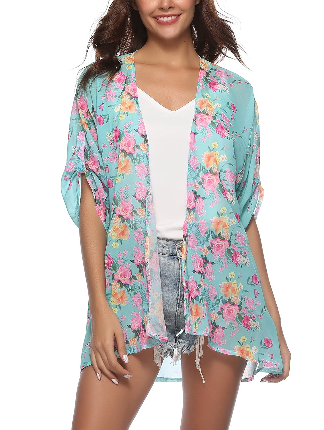5c3d04e6a4433 This beach cover up is lightweight and a little sheer fabric with smooth  and comfortable touch. Beat the heat in this breezy kimono cardigan!