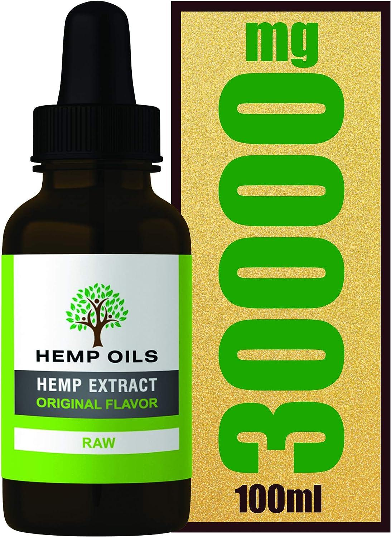 Extracto de cáñamo de 30%, 30000 mg (crudo), botella grande de 100 ml, extracto de cáñamo de alta resistencia, suministro de 10 meses