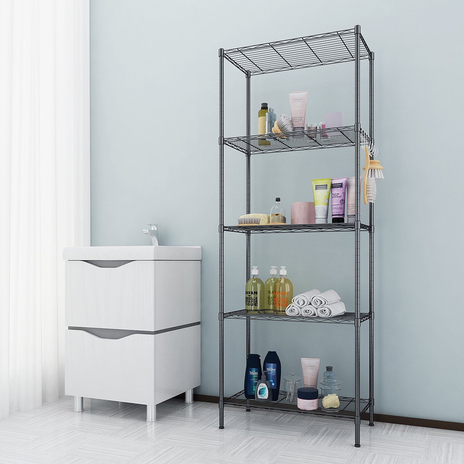 Amazon.com: Anfan 5 Tier Wire Shelving Unit Adjustable Height ...