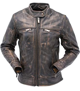 3cec9c6d9 Women's Distressed Brown Cafe Racer Vintage Biker Leather Jacket at ...