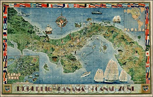 Pictorial Map of the Republic of Panama with the Canal Zone History Wall Poster
