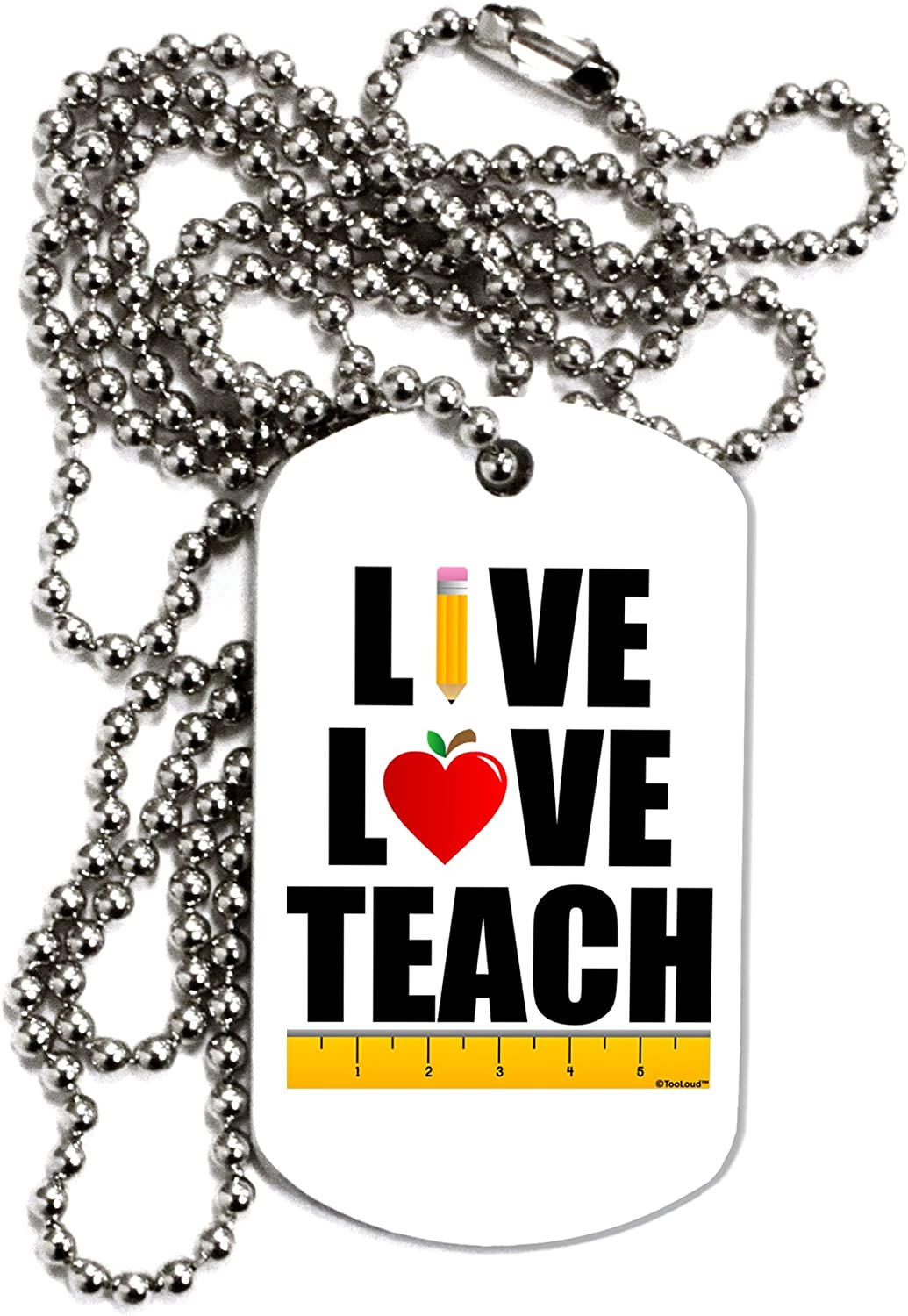 TOOLOUD Live Love Teach Adult Dog Tag Chain Necklace
