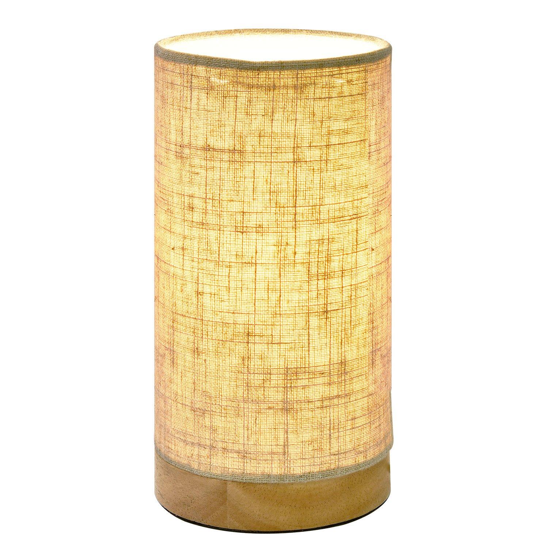 Tischlampe Holz, Nachttischlampe aus Massivholz mit Lampenschirm Stoff - Leinen, Schreibtischlampe für Schlafzimmer, Wohnzimmer, Kinderzimmer Viugreum MA0002006