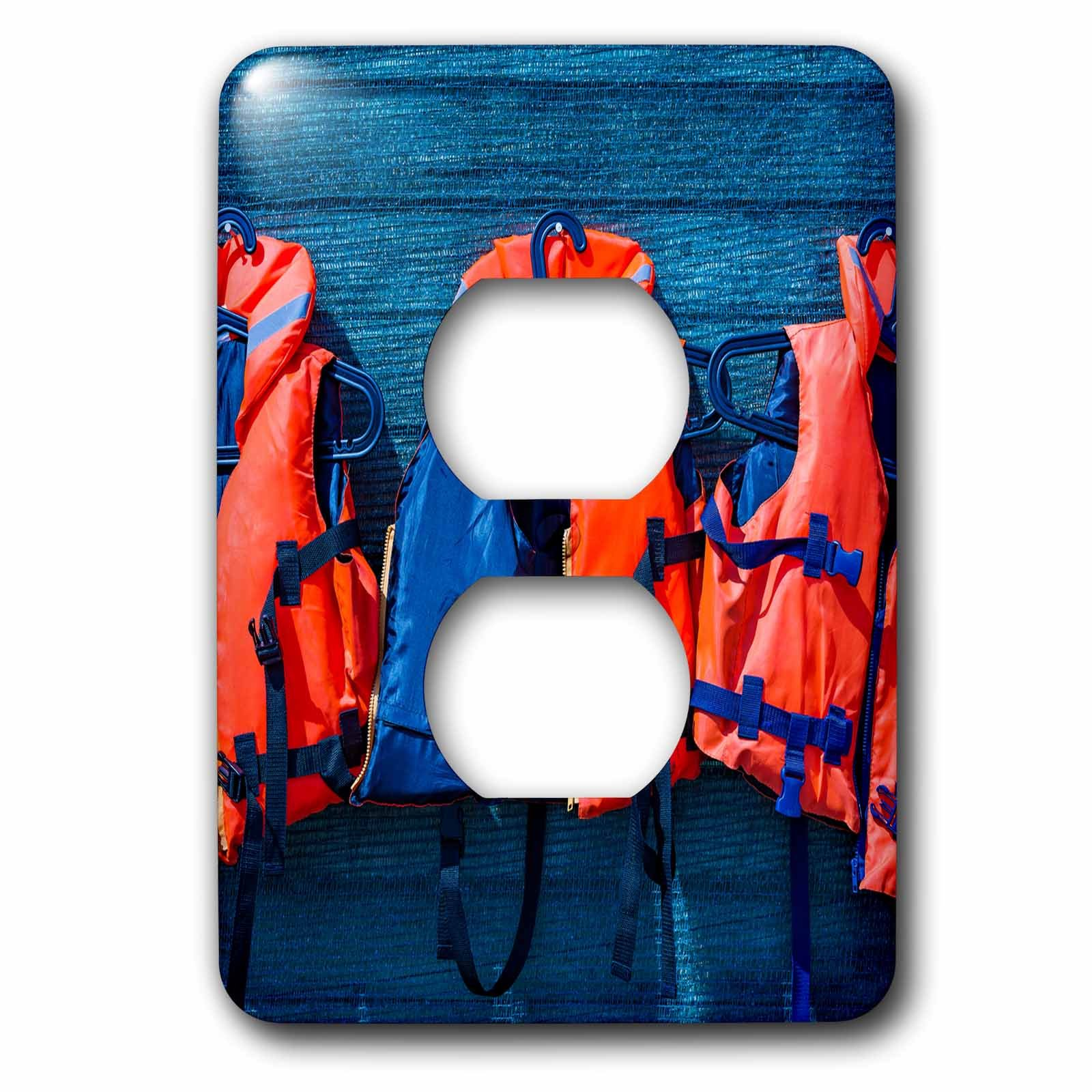 3dRose Alexis Photography - Objects - Water safety goes first. Orange life saving jackets on a blue wall - Light Switch Covers - 2 plug outlet cover (lsp_267156_6)