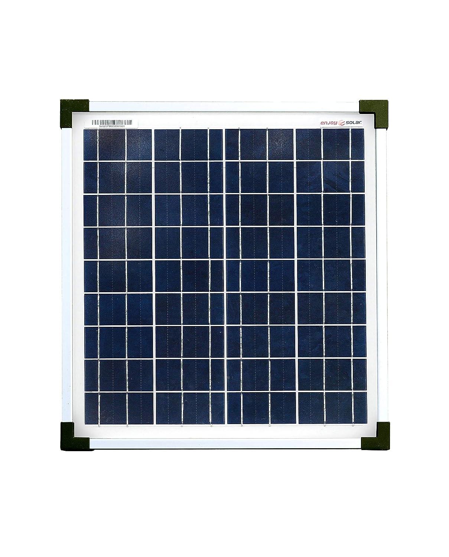 enjoy solar® - Panel solar policristalino de 12 V, paneles solares fotovoltaicos (20 W)