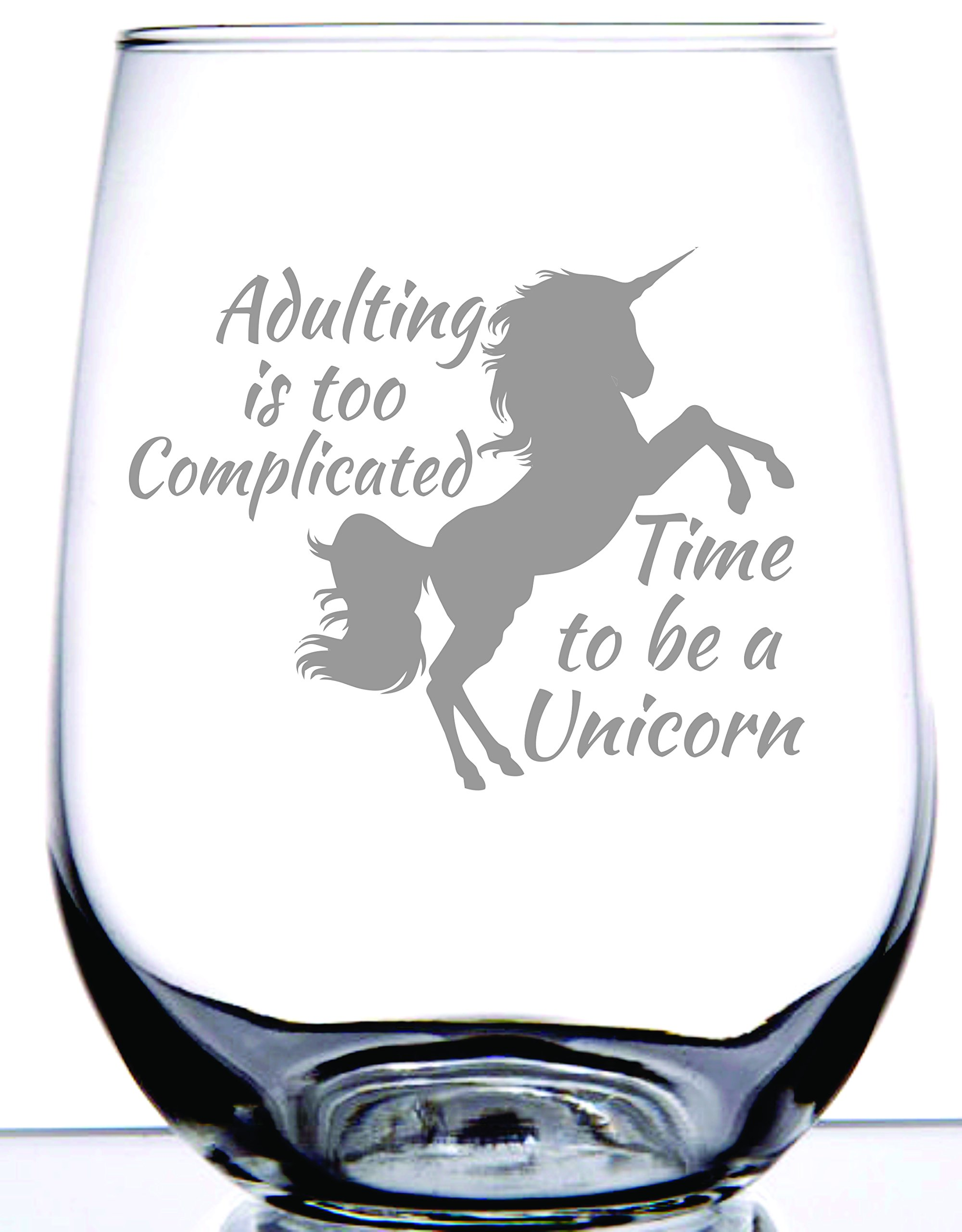 IE Laserware Unicorn! Laser Etched Engraved Wine Glass, 17 Ounce Stemless Wine Glass