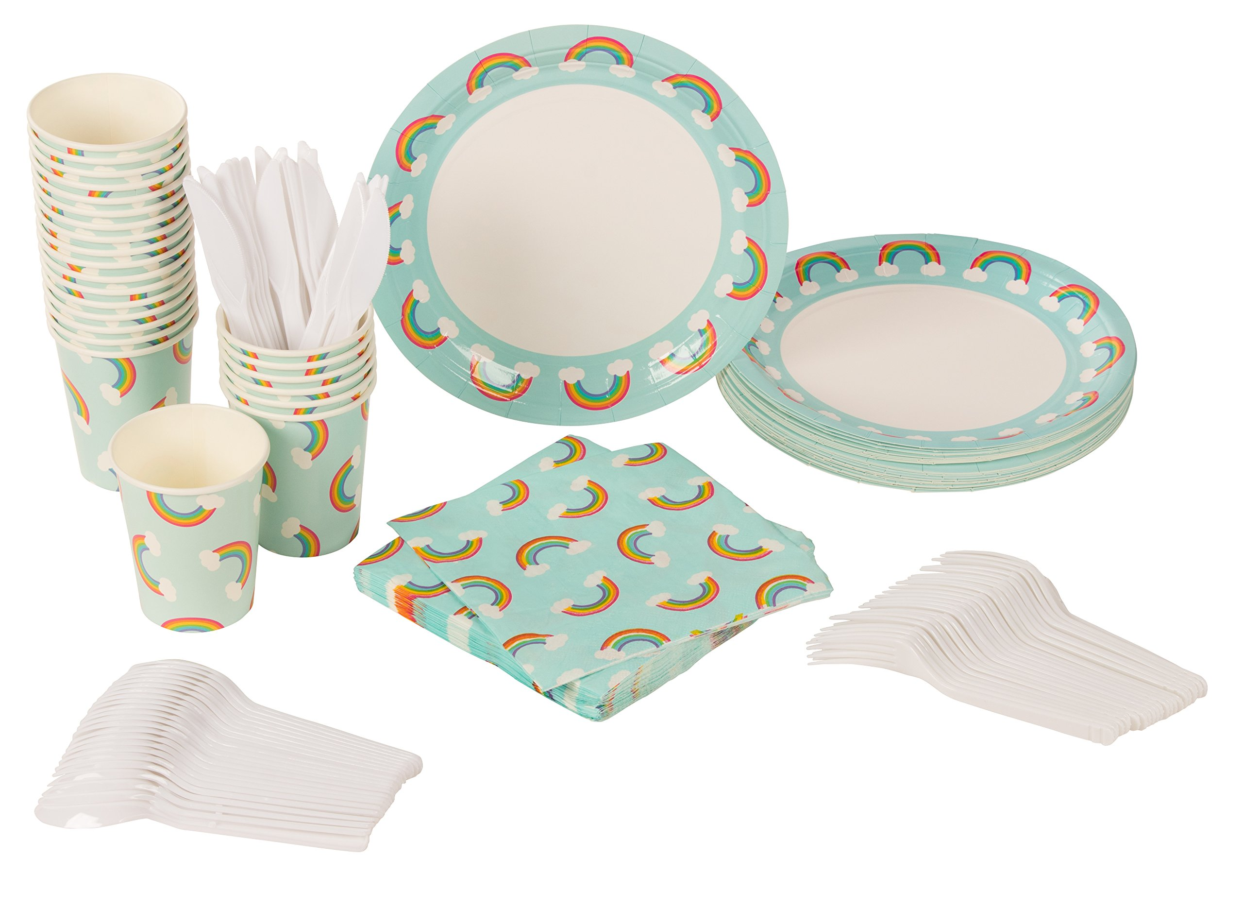 Blue Panda Disposable Dinnerware Set - Serves 24 - Rainbow Party Supplies for Kids Birthdays, Baby Showers - Includes Plastic Knives, Spoons, Forks, Paper Plates, Napkins, Cups