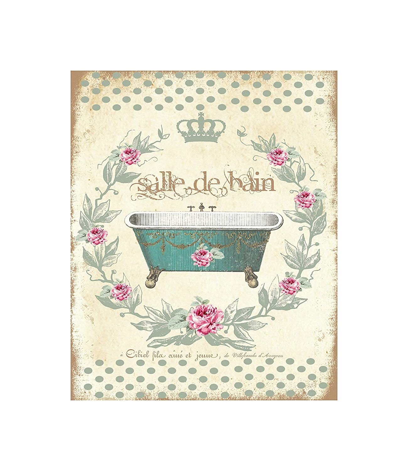 Salle de Bain Green Bath Tub Bathroom Canvas Print