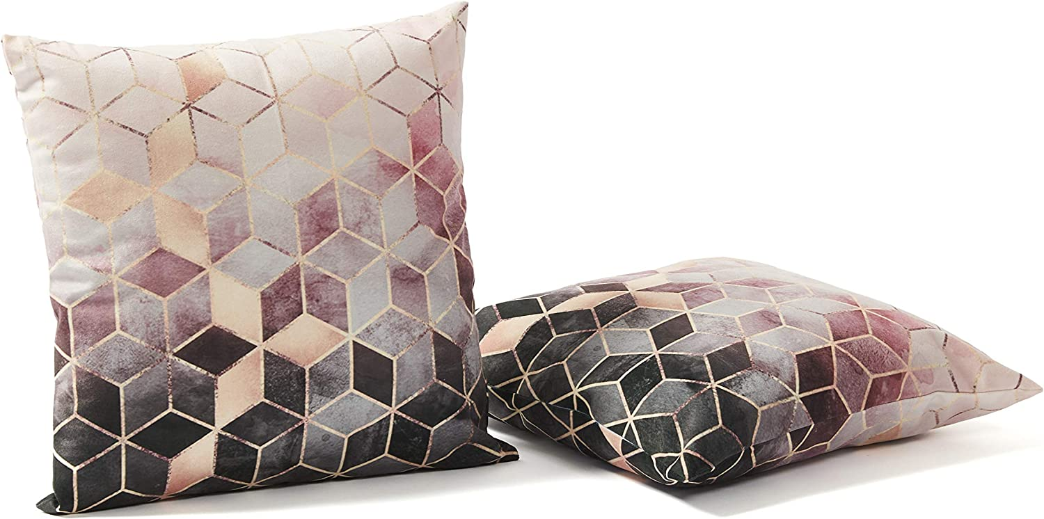 NJHarvests Modern Throw Pillow Covers Set of 2 | Decorative, Velvet Accent Decor | Sofa, Couch, Bed Cushion, Luxury Pillowcase Cover | Nordic Style, Geometric Pattern Pink Rose, Gold Cover - 18x18