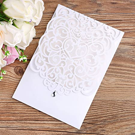 Partecipazioni Matrimonio Amazon.Ponatia 25pcs Laser Cut Inviti Di Nozze Kit In Rilievo Hollow