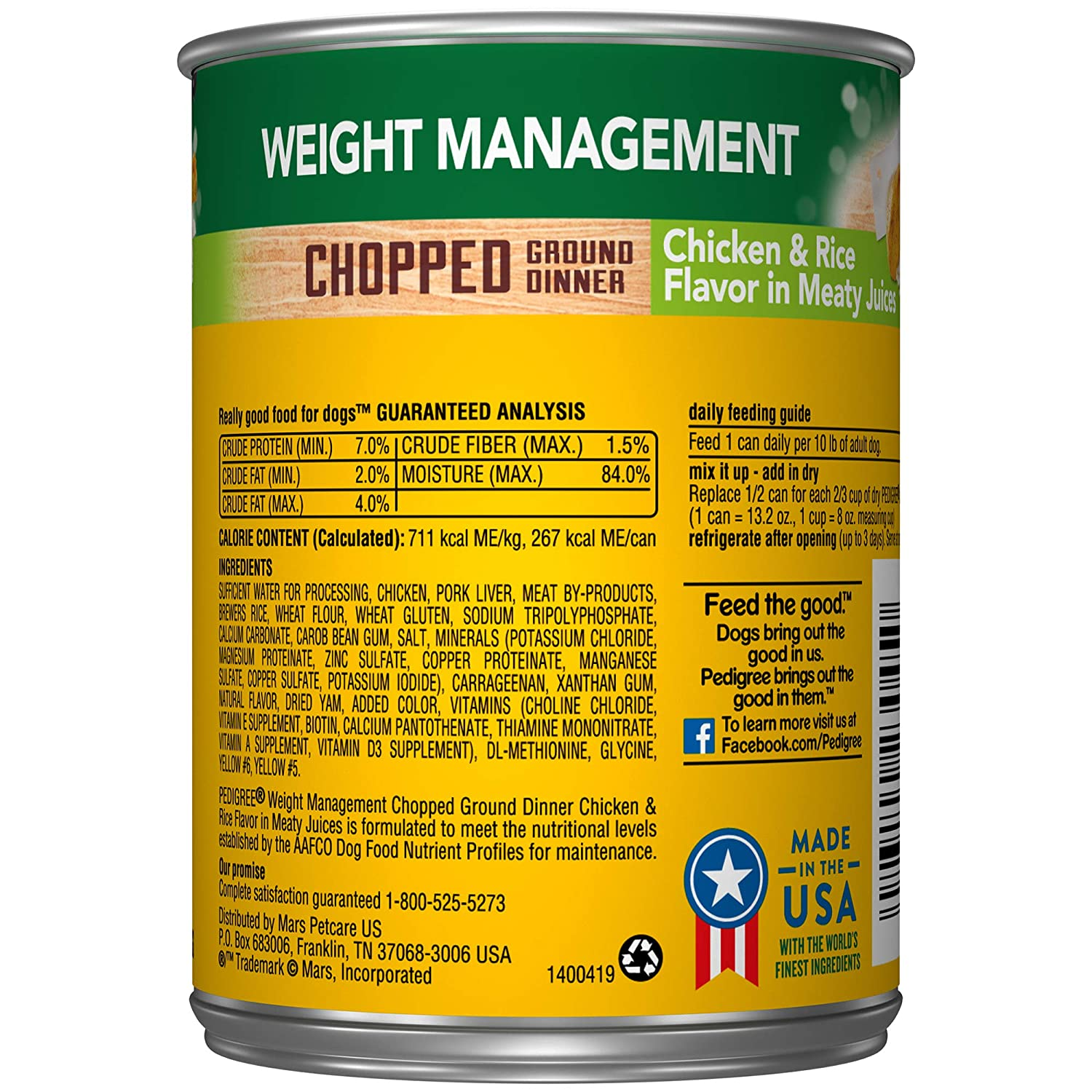 Pedigree Weight Management Adult Wet Dog Food, 13.2 Oz. Cans