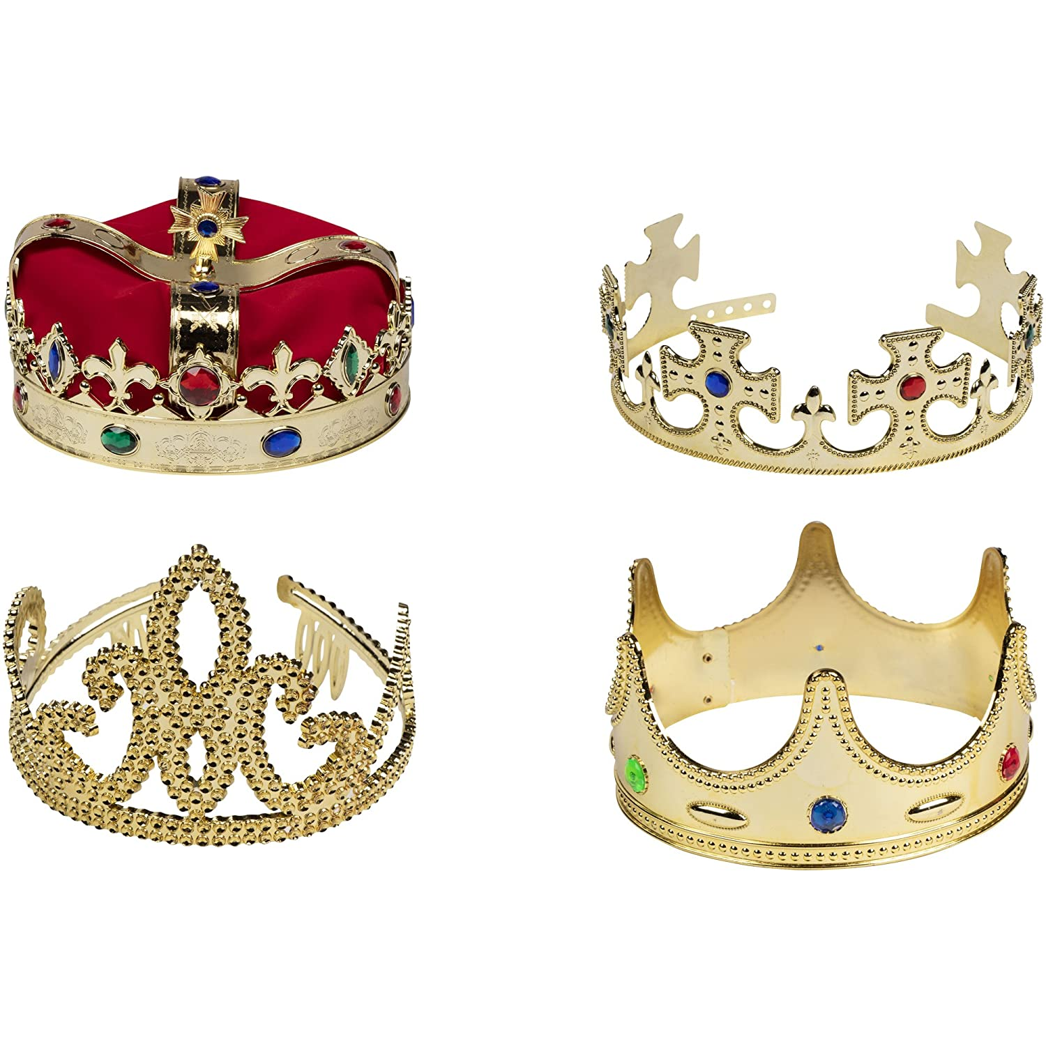 Gold Crown - 4-Pack Royal King and Queen Jeweled Costume Accessories, Party Hat Juvale