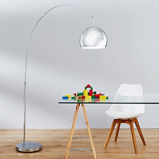 Lightbox - Moderna lampada da terra, lampada ad arco, altezza 200 cm circa,  1 attacco E27, massimo 60 W, in metallo cromato