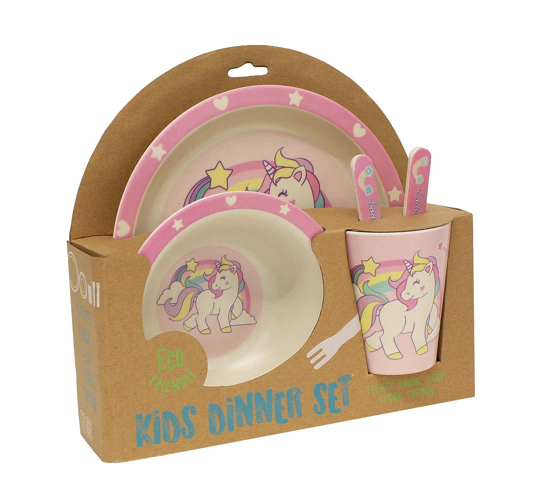 Gourmet Home Products 198018 5-Piece Kids Dinner Set Unicorn