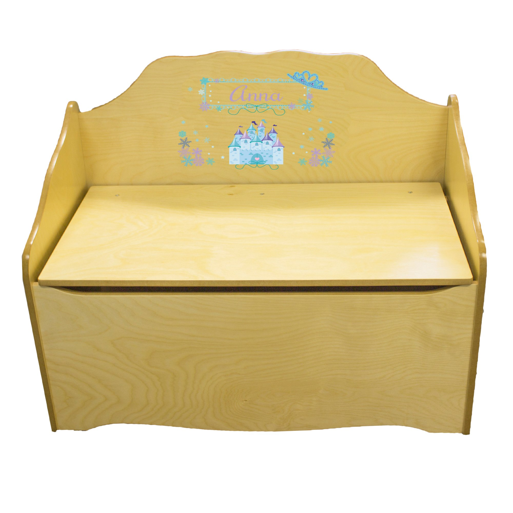 Personalized Ice Princess Childrens Natural Wooden Toy Chest