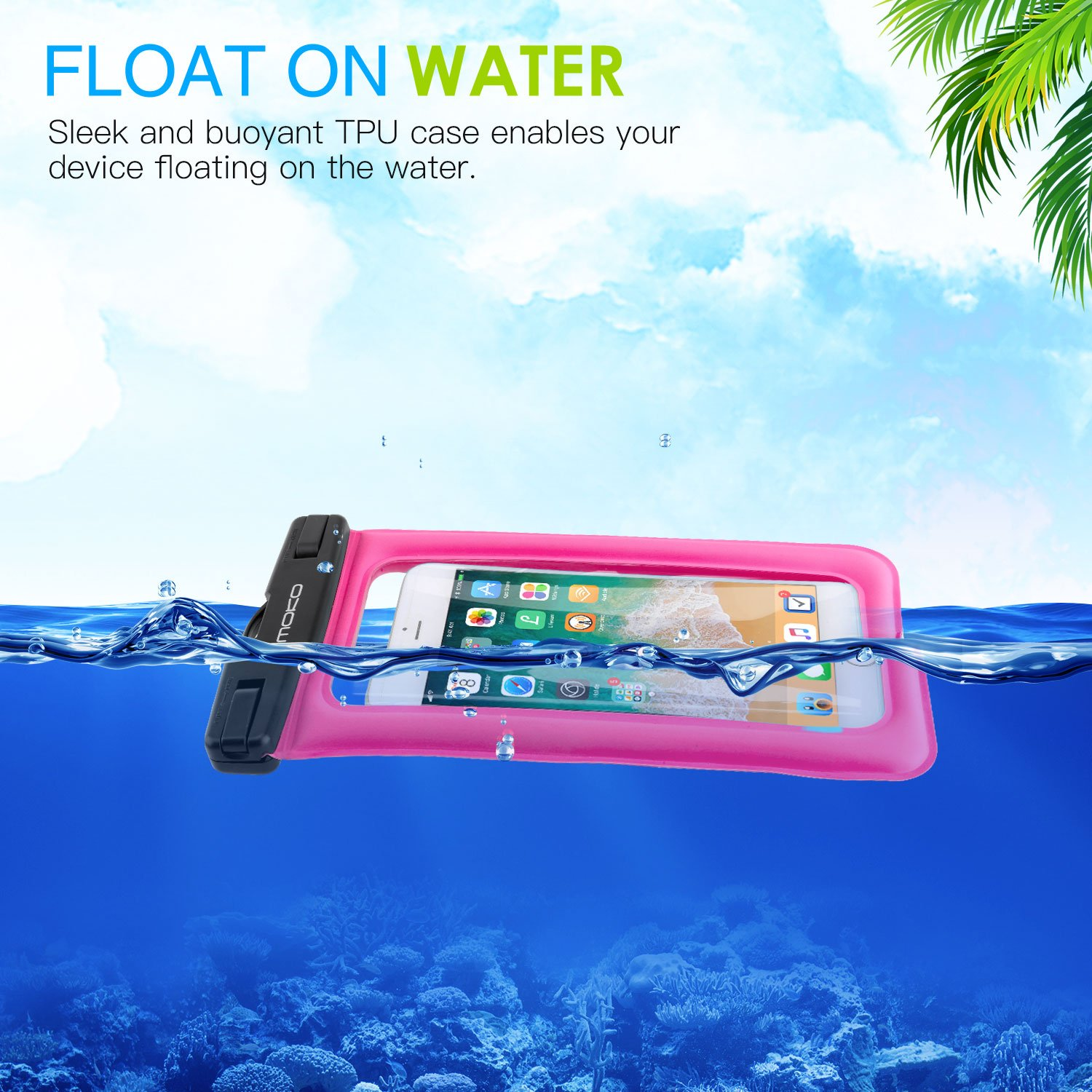 MoKo Floating Waterproof Phone Case [3 Pack], Universal Cellphone Pouch Dry Bag with Armband Neck Strap for iPhone X/8 Plus/8/7/6S Plus, Samsung Galaxy S9/S8 Plus, Note 9/8, Huawei, Google Nexus by MoKo (Image #2)