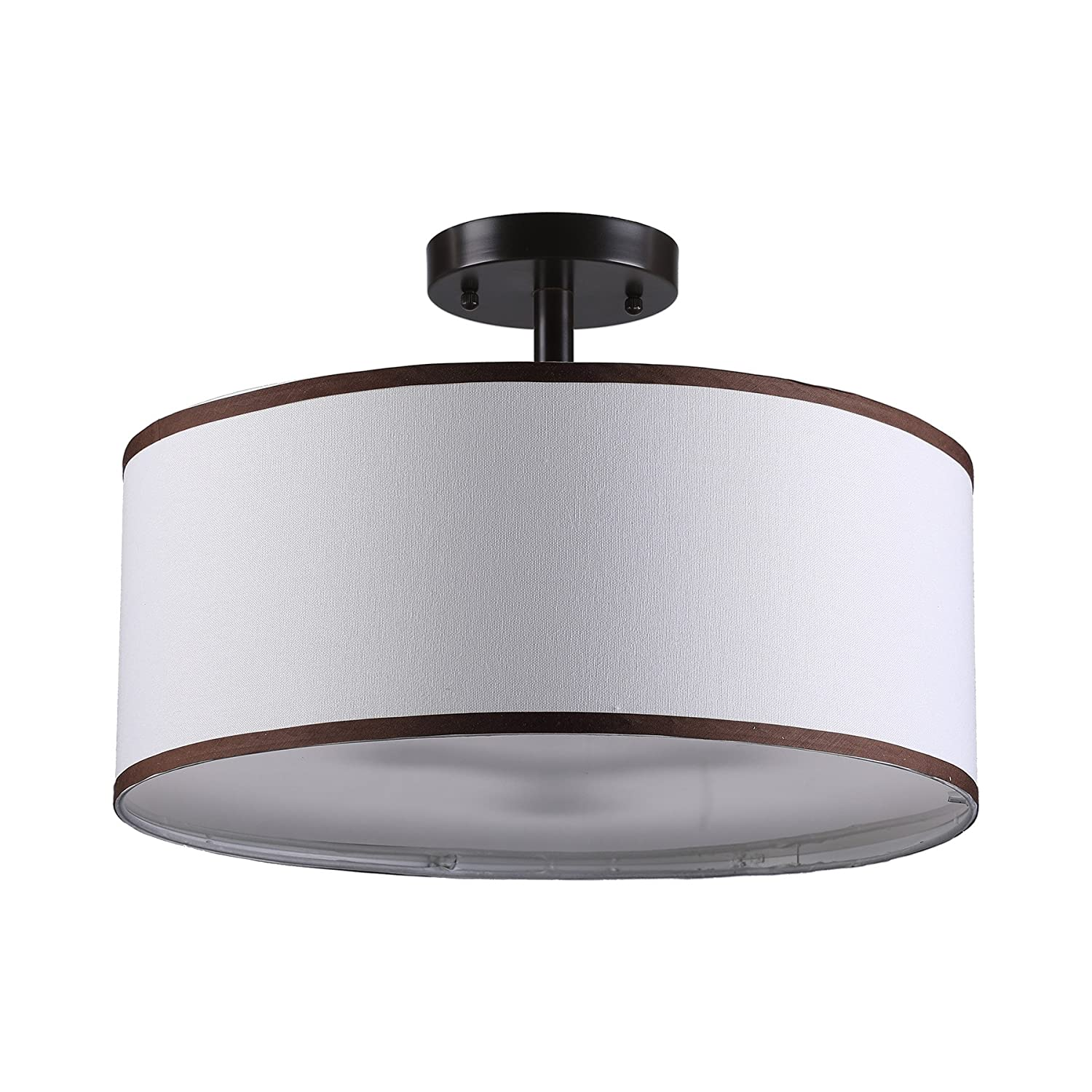 Semi-Flush Mount Contemporary Ceiling Lighting Fixture with Diffused Shade for Kitchen Bronze Finished 3 Light Drum Chandelier Dining Room Table Hallway CO-Z Drum Light
