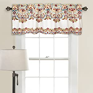"Lush Decor Clara Valance Paisley Damask Print Bohemian Style Single Curtain, 18"" x 52"", Turquoise and Tangerine"