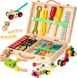 KIDWILL Tool Kit for Kids, Wooden Tool Box with Colorful Wooden Tools, Building Toy Set Creative DIY Educational Construction Toy, for Toddlers 3 Year Old and Up
