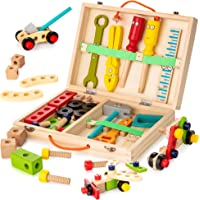KIDWILL Tool Kit for Kids, Wooden Tool Box with Colorful Wooden Tools, Building Toy Set Creative DIY Educational…