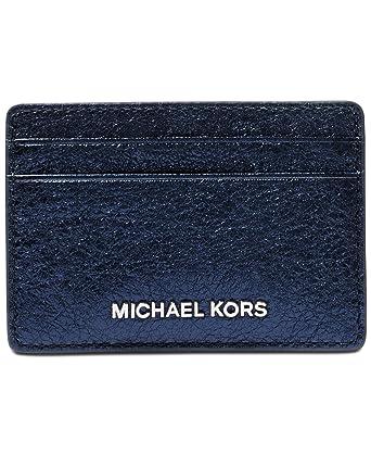 cf3ddeaef809ff Amazon.com: MICHAEL Michael Kors Womens Shimmer Card Holder Mini Wallet  Navy O/S: Shoes