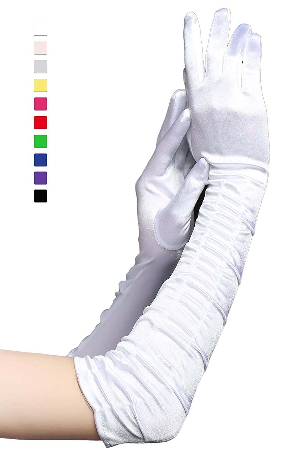 BABEYOND Long Opera Party 20s Satin Gloves Stretchy Adult Size Elbow (Long Smooth 17.7in/White)
