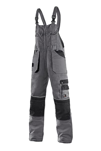 CXS Krystof Pantaloni da lavoro da uomo con tasche per ginocchiere - pantaloni  da lavoro molto robusti e resistenti con bretelle pantaloni da giardino ... e02b667b9ec