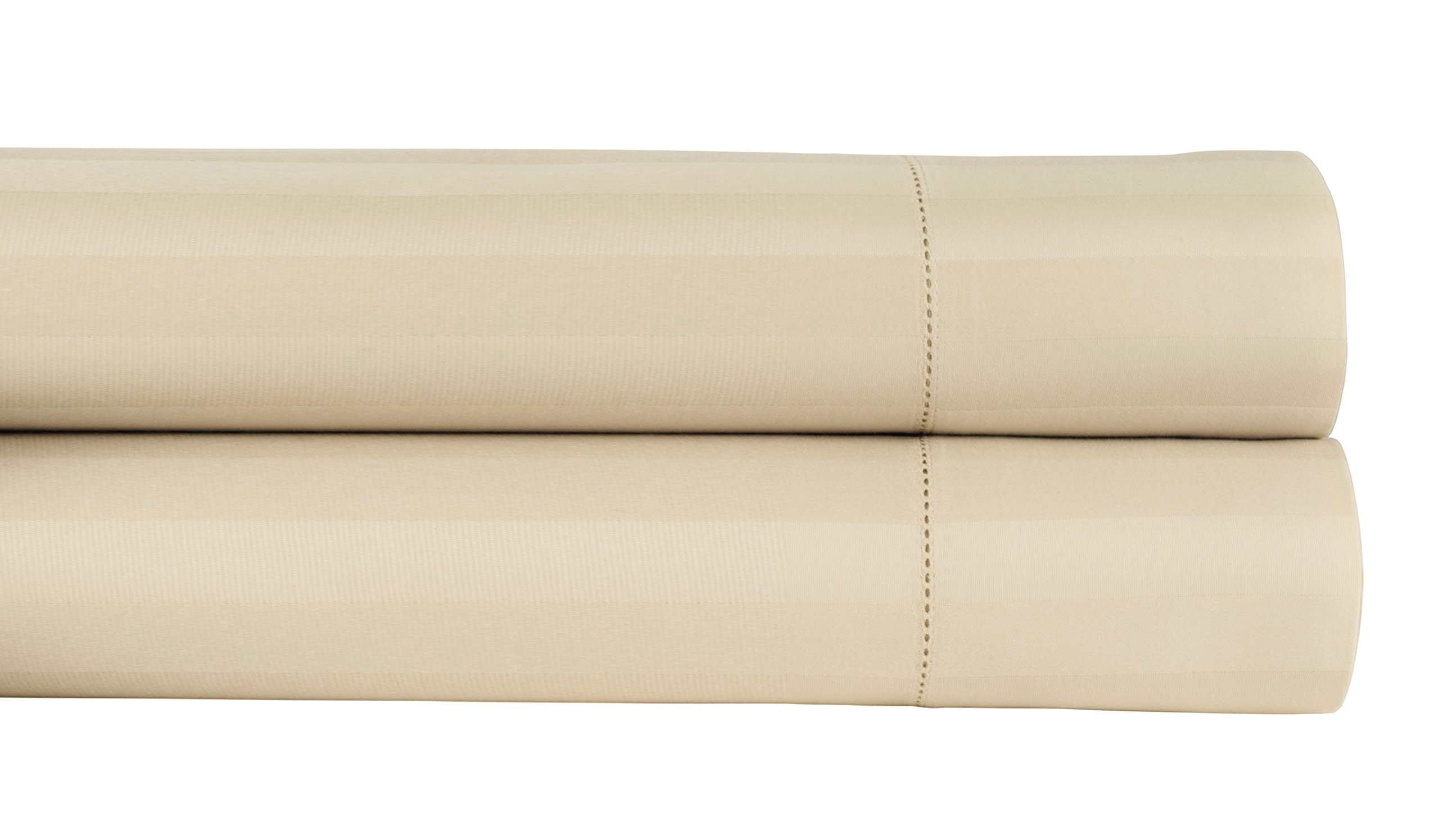 Threadmill Home Linen 500 Thread Count Damask Stripe 100% ELS Cotton Sheets, Set of 2 King Pillowcases, Luxury Bedding, Smooth Stripe Sateen, Beige by
