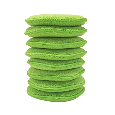 Polyte Microfiber Detailing Wax Applicator Pad, 8 Pack (Green, 5 in): Automotive