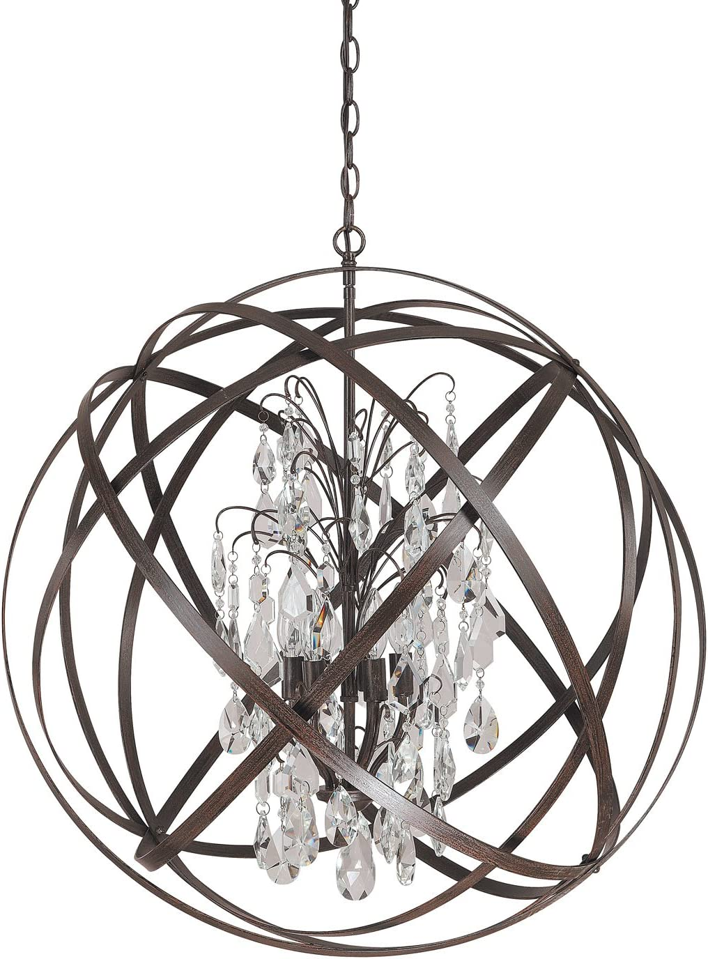 Capital Lighting 4236RS-CR Axis 6-Light Pendant, Russet Finish with Clear Crystal Accents
