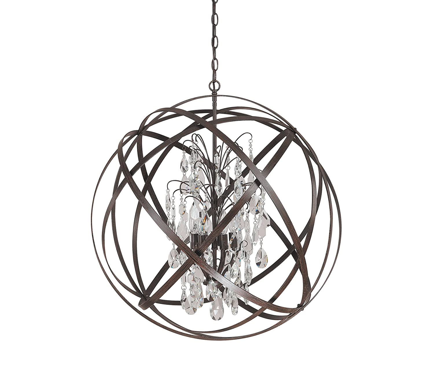 capital lighting 4236rs cr axis 6 light pendant russet finish with