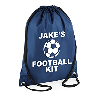e3a5adb0e42a NAVY PERSONALISED BOY S FOOTBALL KIT BAG with name - Boy s Gym PE Drawsting  Bag