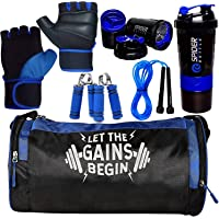 5 O' CLOCK SPORTS Combo of Let The Gains Begin (Blue) Gym Bag, Gloves (Blue), Spider Shaker (Blue) Skipping Rope (Blue) and Hand Gripper (Blue) Gym and Fitness Kit.
