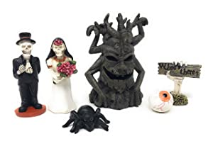 Halloween Fairy Garden Haunted House Characters Figurines 6 Piece Kit Set-Home Decor Party Cake Topper Dollhouse Shadow Box Craft DIY Bride Groom Skeleton Spooky Tree Eyeball Spider Hand Multicolor