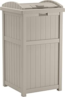 product image for Suncast 33 Gallon Hideaway Trash Can for Patio - Resin Outdoor Trash with Lid - Use in Backyard, Deck, or Patio - Taupe