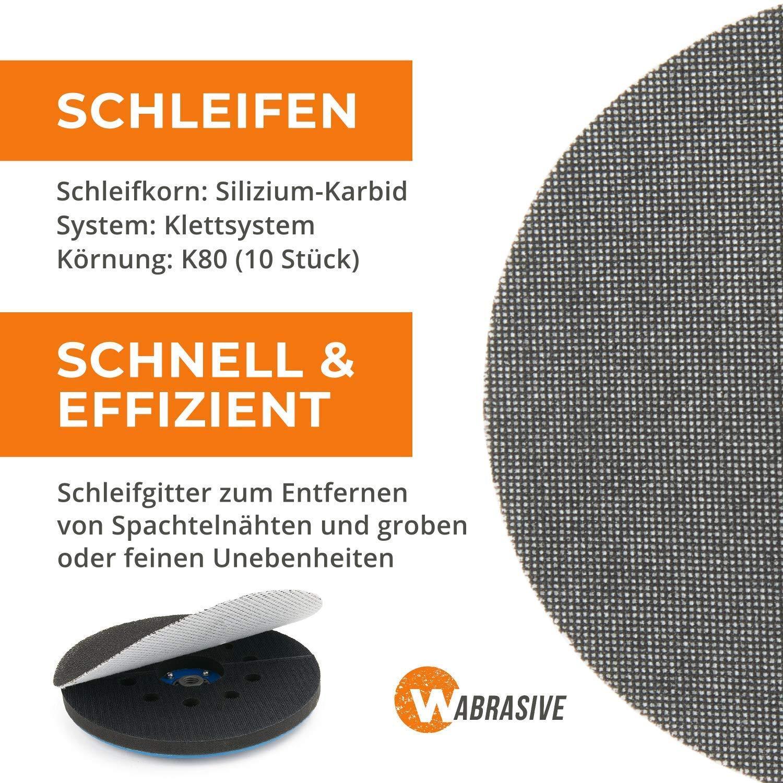 PU 25 Grit 80 MENZER Perforated Hook /& Loop Sanding Discs for Drywall Sanders 225 mm