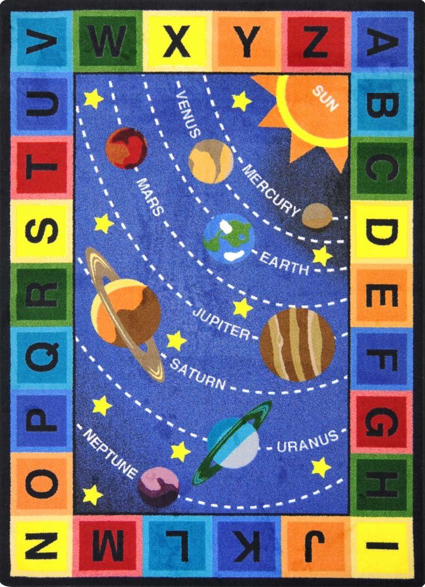 Joy Carpets Kid Essentials Geography Environment Space Alphabet Rug, Multicolored, 10 9 x 13 2