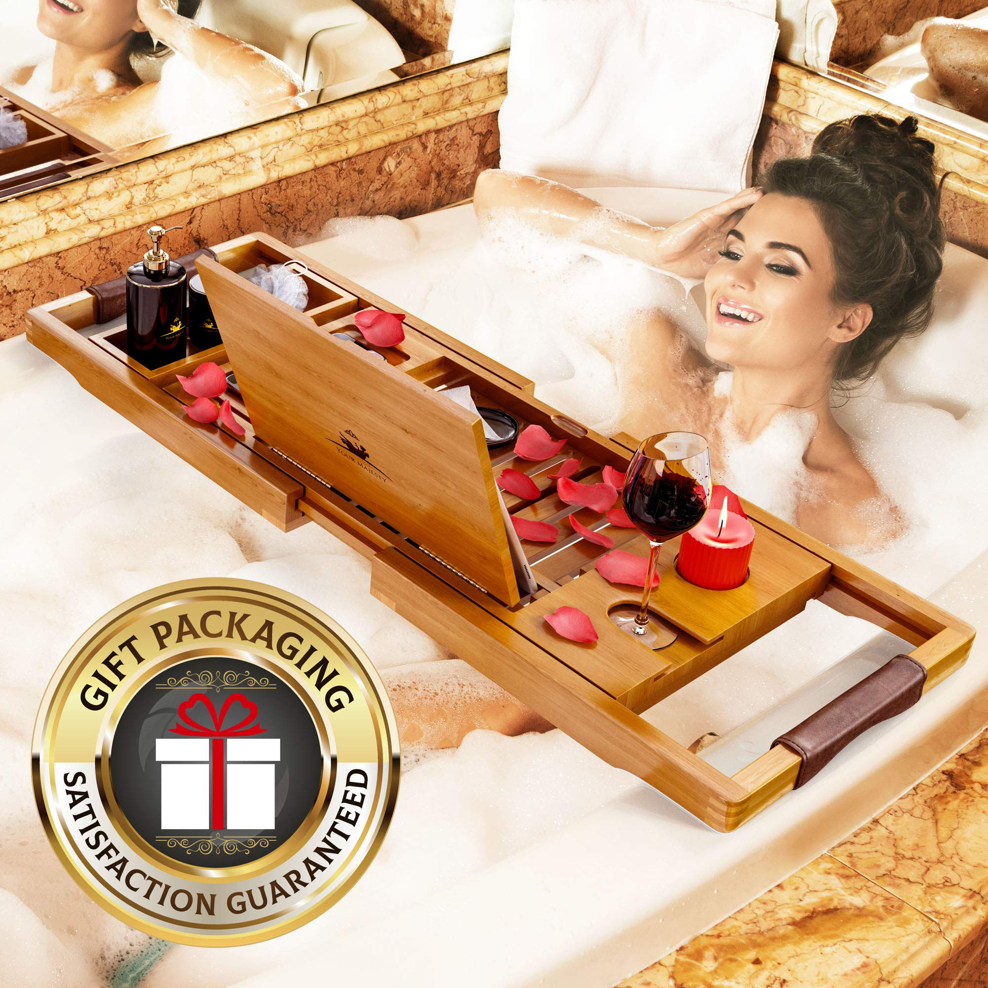 YM Lux Craft Bamboo Bathtub Caddy Tray [Durable, Non-Slip], 1-2 Adults Expandable Bath Tray, Beautiful Gift Box, Fits Any Tub - Holds Book, Wine, Phone, Ipad, Laptop, Etc - Free Bathroom Door Hanger by Your Majesty