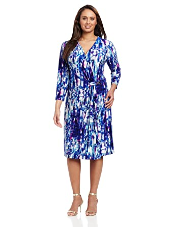 Jones New York Women\'s Plus-Size Knit Long Sleeve Wrap Dress, Bright ...