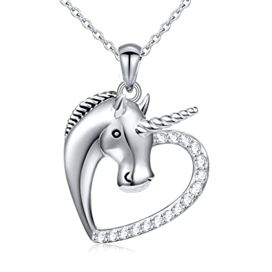 """58d5ec3a9 Sterling Silver Forever Love Unicorn in Heart Pendant Necklace for Women  Girl, Rolo Chain 18"""""""