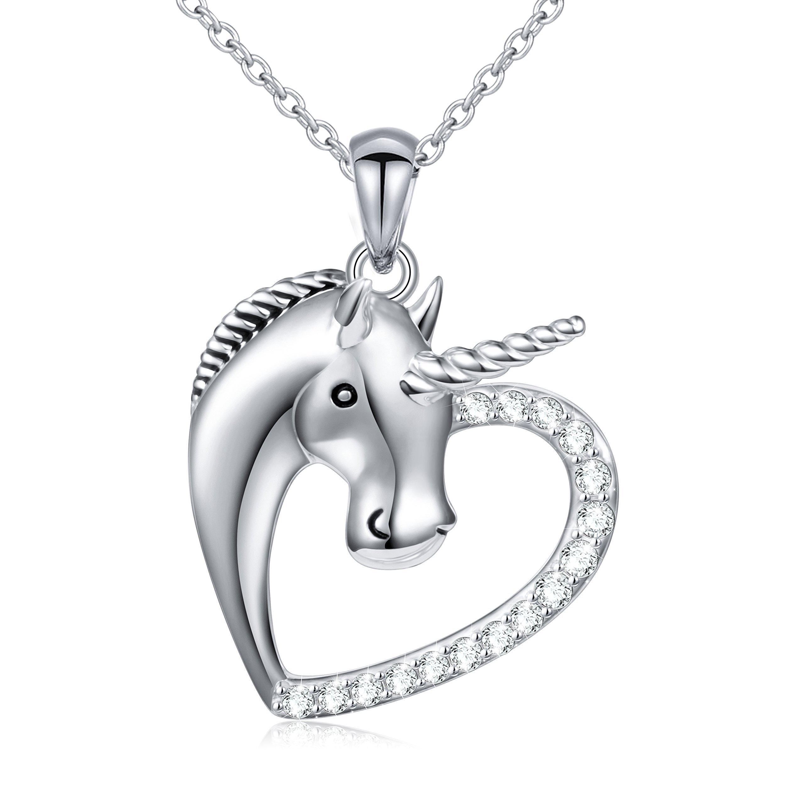 Sterling Silver Forever Love Unicorn in Heart Pendant Necklace for Women Girl, Rolo Chain 18''