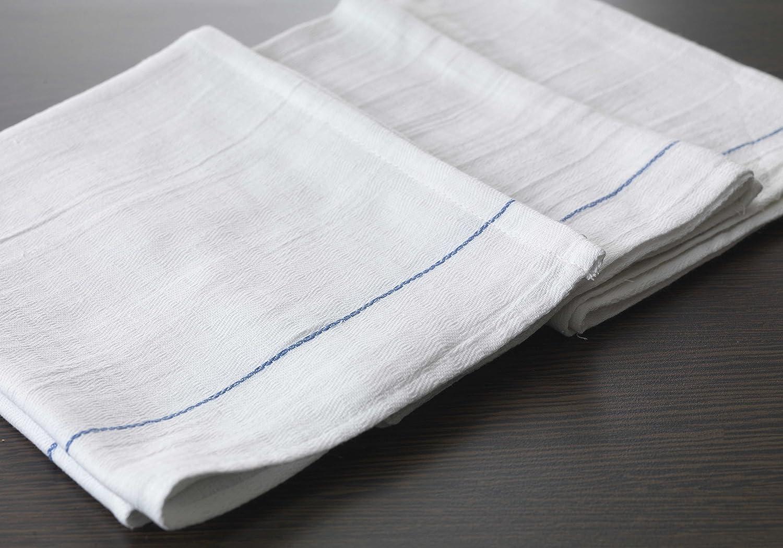 Pack of 12 Musbury Waiters Cloths Blue Stripe