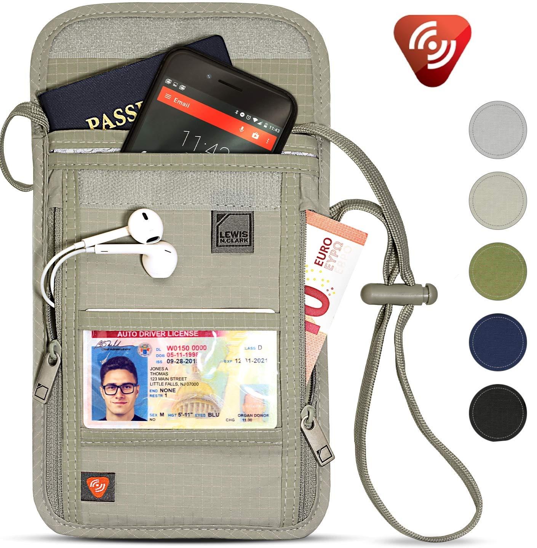 Lewis N. Clark RFID Blocking Stash Neck Wallet, Travel Pouch + Passport Holder for Women & Men, Taupe by Lewis N. Clark