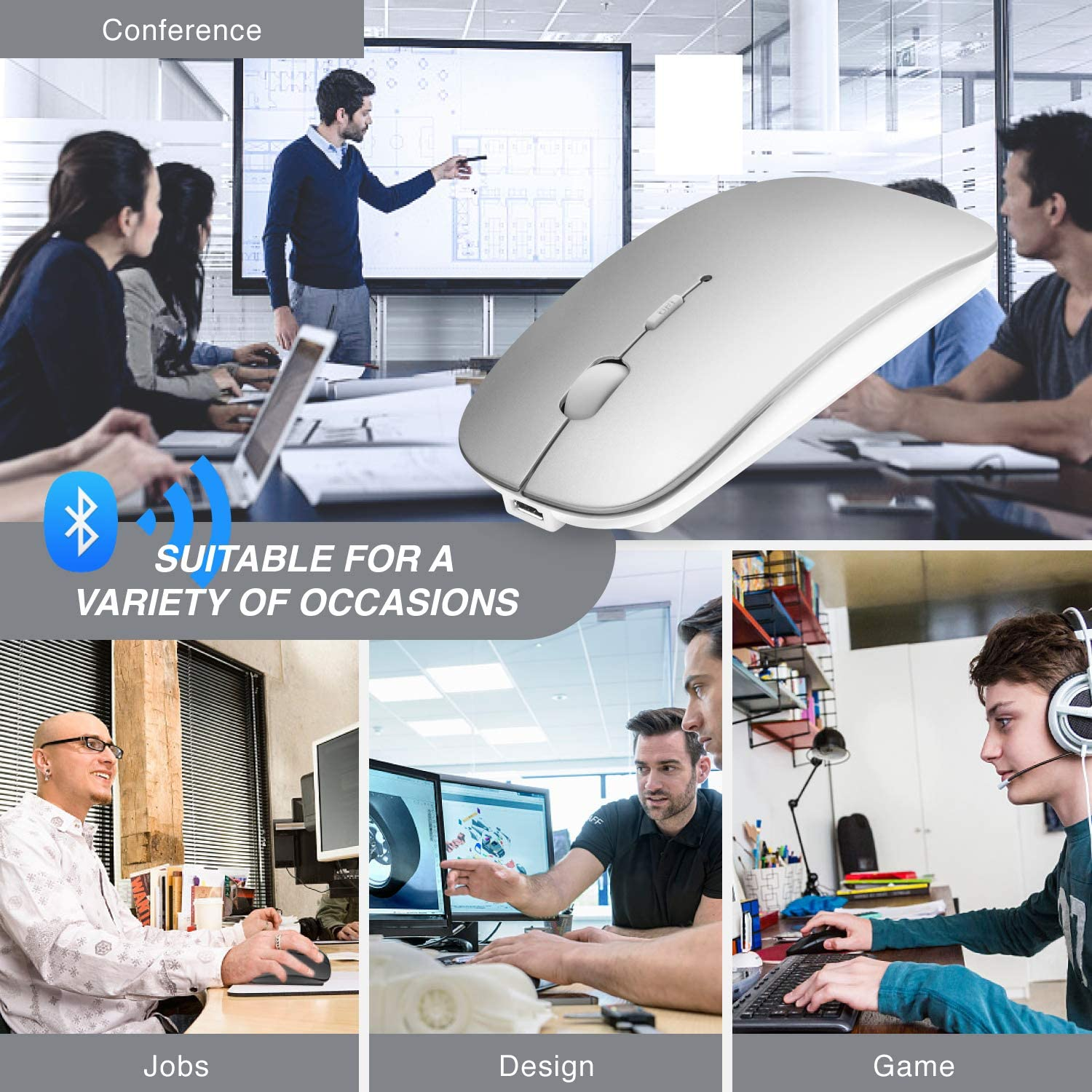 Bluetooth Mouse for Laptop//iPad//iPhone//Mac // Android PC iOS13.1.2 and Above Wireless Mouse Slim USB Rechargable Quiet Mice for Windows//Linux//Notebook//Mac//MacBook Air Bluetooth4.0 Silver