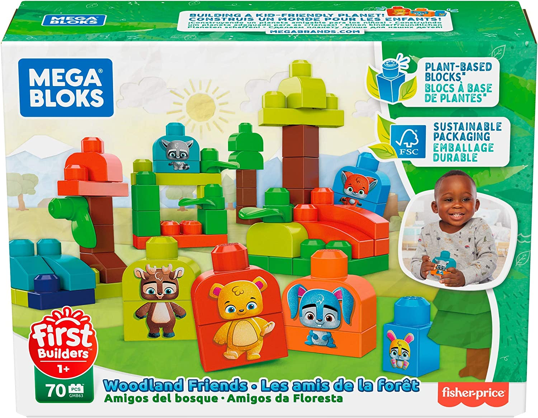 Plant-Based Blocks Mega Bloks Safari Friends Preschool Building Set