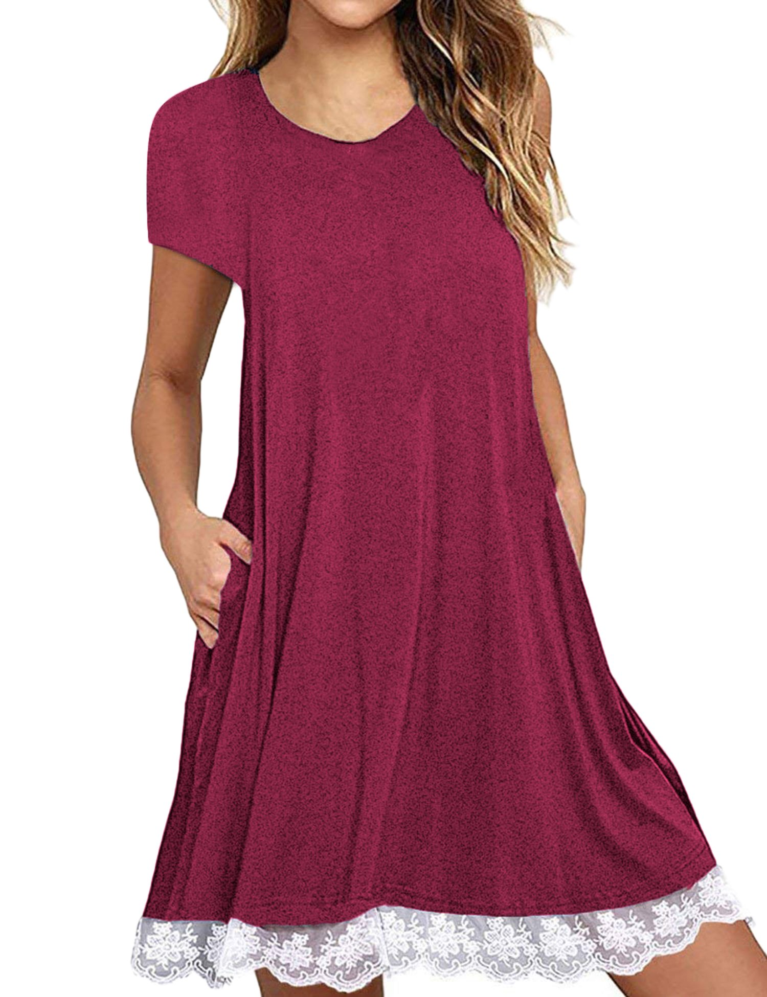 FISOUL Women's Casual Short Sleeve Lace Tunic Dress Summer T-Shirt Dress with Pockets Red L
